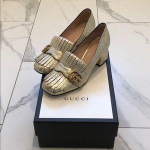 Gucci GG Marmont Metallic Mid-Heel Pumps